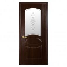 """Межкомнатные двери (полотно) ПВХ """"Овал"""" каштан К 70+Р1"""