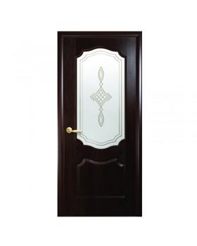 """Межкомнатные двери (полотно) ПВХ """"Вензель"""" каштан К 80+Р1"""