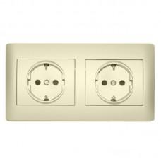Розетки с заземлением и защитными шторками в рамке LXL OSCAR (кремовые) 2шт