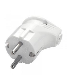 Вилка электрическая VIKO с боковым входом с заземлением белая