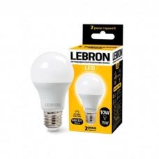 Лампа светодиодная LED L-A60 10W 3000K 220V E27 LEBRON
