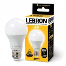Лампа светодиодная LED L-A60 15W 3000K 220V E27 LEBRON