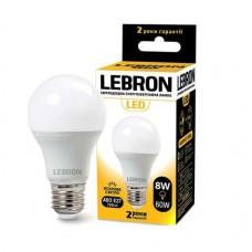 Лампа светодиодная LED L-A60 8W 4100K 220V E27 LEBRON