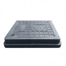 Люк канализационный полимерпесчаный квадратный (черный) 1,5 т