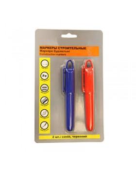 Маркер перманентный строительный (синий и красный) 2 шт