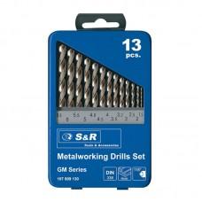 """Набор сверл по металлу """"S&R Power"""" DIN338  (1,5-6,5 мм) 13 шт"""