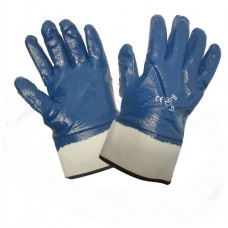 """Перчатка """"Долони"""" нитрил синяя, манжет крага"""