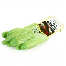 Перчатки зеленые  нейлон, ПВХ, неполный облив, гладкий
