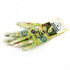 Перчатки зеленые, нейлон, полиуретан, неполный облив, гладкий